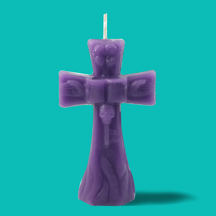 Purple Cross Hoodoo Rootwork Candle - Click Image to Close